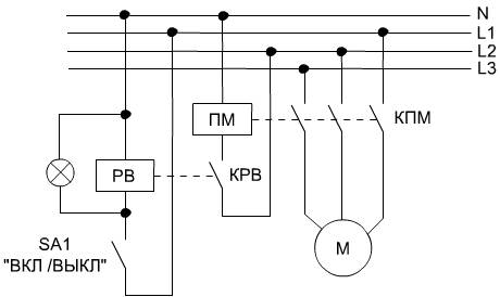 Ниже схема циклического включения - выключения двигателя (М). Реле времени (РВ) любое циклическое, например...